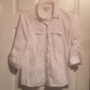 Micheal Kors white gold snap button shirt size 8